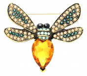 KristLand - Fashion Gold Tone Austrian Crystal Animal Insect Bee Animal Brooch Pin Corsage Classical Style