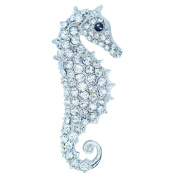 Yilanair Vintage Muilti-colour Crystal Rhinestone Seahorse Brooch Pin Jewellery for Dress Wedding