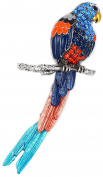 Blue and Orange Parrot Pendant/Brooch with Enamel and Crystal