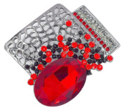 Metal Colour Gun Pendant/Brooch with Red Crystal