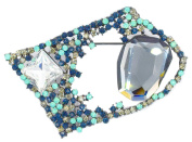 Brooch/Pendant with Blue Crystal Green and Grey