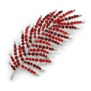 Stunning Large Red/ Burgundy Crystal Leaf Brooch In Silver Tone - 90mm