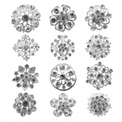 TOOKY 12pcs Mix Set Crystal Button Brooches Scarves Buckle Floriated Brooch Pin Rhinestone Corsage Bouquet Kit Wholesale Lot