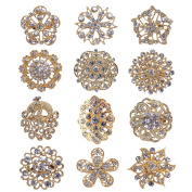 TOOKY 12pcs Mix Set Crystal Brooches Flower Brooch Collar Pin Corsage Bouquet Decor Wholesale Lot DIY for Wedding