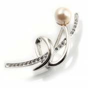 Silver Tone Imitation Pearl Floral Brooch