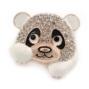 Clear Crystal White/ Black Enamel Panda Bear Brooch In Gold Tone - 30mm