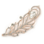 Large Clear Crystal, CZ Peacock Feather Brooch In Rose Gold Metal - 10cm