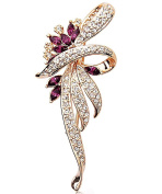 Merdia Created Crystal Fancy Vintage Style Brooch Pin for Women, girls, ladies, Purple colour
