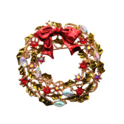 SENFAI Christmas Wreath Brooch Crystal Rhinestone Hot New Products for Christmas Gift