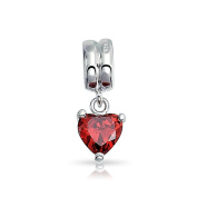 Bling Jewellery 925 Silver CZ Dangle Heart Charm Pandora Compatible
