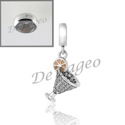 Free 925 Stopper Bead with 925 Sterling Silver Cocktail Glass Dangle Charm.
