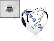 De'Lageo, Free 925 Stopper Bead with, 925 Sterling Silver Daughter Heart, Charm Bead.