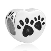 Uniqueen Sterling Silver Heart Dog Paw Print Charm Bead fit Pandora Charms Bracelets
