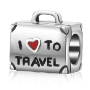 I Love to Travel Suitcase Charm Bead 100% Geunine 925 Sterling Silver Red Heart Bag Chams Fit European Charms Bracelet