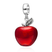 Christmas Apple Bead Charm Original 925 Sterling Silver Red Enamel Fruit Charms with Light Green Cz Bead
