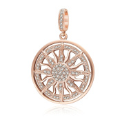Rose Gold Sun Charm Pendant 100% Geunine 925 Sterling Silver Sunflower Bead with Clear Cz Stone Fit European Charms Bracelet