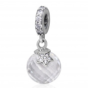 Moon and Star Charm Genuine 925 Sterling Silver with Clear CZ Dangle Charms Bead
