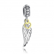 Flying With Heart, Wings Dangle Charm 925 Sterling Silver Charms Fits Pandora, European Bracelets Compatible