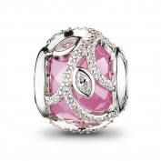 ATHENAIE 925 Sterling Silver Plated Platinum with Pink Clear CZ Nature's Radiance Charm Beads