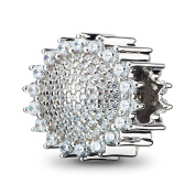 ATHENAIE 925 Silver Plated Platinum with Pave Clear CZ Sunflower Charm Fit All European Bracelets Necklace