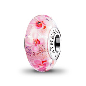 ATHENAIE Murano Glass 925 Silver Core Pink Field of Flowers Charms Bead Colour Pink