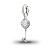 ATHENAIE 925 Sterling Silver Plated Platinum with Pave Clear CZ Symbol Of Trust Pendant Drops Charm