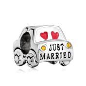 Uniqueen Just Married Wedding Car Charms Bead fit Pandora Bracelet