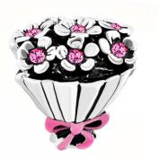 Uniqueen Wedding Bride Bouquet Flower Charm Cheap fit Pandora Bracelet