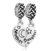 Uniqueen Mum Gift Mother Daughter Charm Sterling Silver Dangle Bead fit Pandora Bracelet