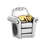 Uniqueen Sterling Silver Cute Cat Lie In Sofa Charm Beads Sale Fit Pandora Chamilia Bracelet Gifts