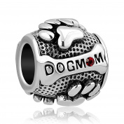 Uniqueen Dog Mum Animal Paw Print Charms with red Crystal Bead fit Pandora Bracelet