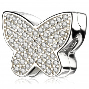 ATHENAIE 925 Silver Clips Plated Platinum with Pave Clear CZ Sparkling butterfly Charm beads