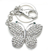 QUADIVA Bag Charm Elegant Butterfly Bag Pendant for Ladies embellished with pearls and crystals