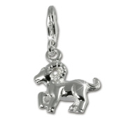SilberDream 925 Sterling Silver Zodiac Aries Charm Pendant for Bracelet, Necklace or Earring FC7104