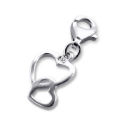 Laimons – Charm Pendant – Women – 925 Sterling Silver – Heart to Heart – Shiny