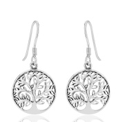 DTPSilver - 925 Sterling Silver Tree of Life Dangle Earrings