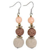 Lassiere Women's Hooks Stainless Steel Lava Pumice Stone Rose Quartz Earrings