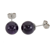 Lassiere Ladies Amethyst Ball Stud Earrings – Purple