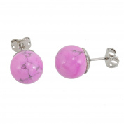 Lassiere Women's Howlite Ball Stud Earrings – Pink