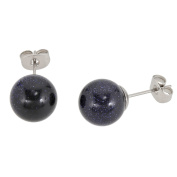 Lassiere Ladies Earrings with Blue Goldstone Sphere Blue
