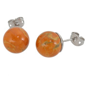Lassiere Women's Stud Earrings Howlite Ball Yellow/Orange
