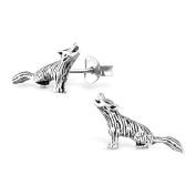 Wolf Stud Earrings - 925 Sterling Silver - Size