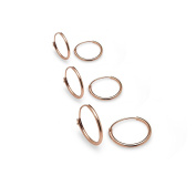 Sterling Silver Endless Hoop Earrings, 10mm,12mm & 14mm 3 Pair Set, Many Colours Available- Nine2Five