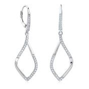 Silver Leaf Earrings with Zirconia 925 Sterling Silver Drop Earrings