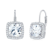Glitter White Silver Earrings with Cubic Zirconia 925 Sterling Silver