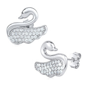 Silver Swan with cubic zirconia 925 sterling silver earrings