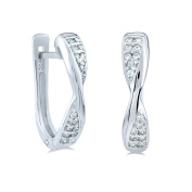 Silver Earrings Cubic Zirconia 925 Sterling Silver Band Hard Case Cover