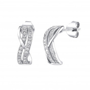 Silver Earrings with Band Pattern with Micro Cubic Zirconia 925 Sterling Silver