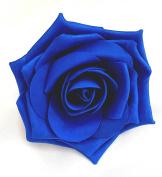 Royal Blue Open Rose Artificial Hair Flower Clip Buttonhole Corsage by Fabulous Fascinators