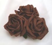 3 Chocolate Brown Roses Cluster Artificial Hair Flowers Corsage Clip Hand Made in Uk. S1